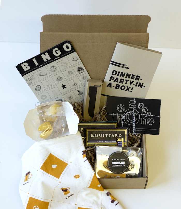 Dinner Party in a box. From The Bold Italic. Available at Park Life on birthday party box, party in a cube, party favors product, gift box, party invitations, gender reveal balloon box, roses delivered in box, pizza box, family gets rid of box, tea party box, girl locked in box, picking up a box, burn box, party in a sandbox, candy box, party in a beach, shit box, paper box, bachelorette party box, party in a tank,